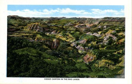 Souvenir postcard of the Badlands, Theodore Roosevelt National Park Collection