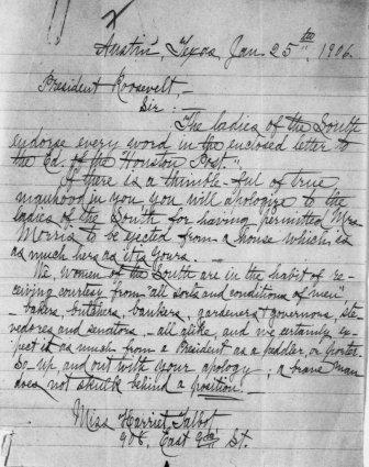 Letter from Harriet Talbot to Theodore Roosevelt, January 25, 1906.