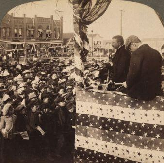 Detail from stereograph. This is Roosevelt delivering a speech in Mandan, North Dakota on his earlier 1903 tour of the West.